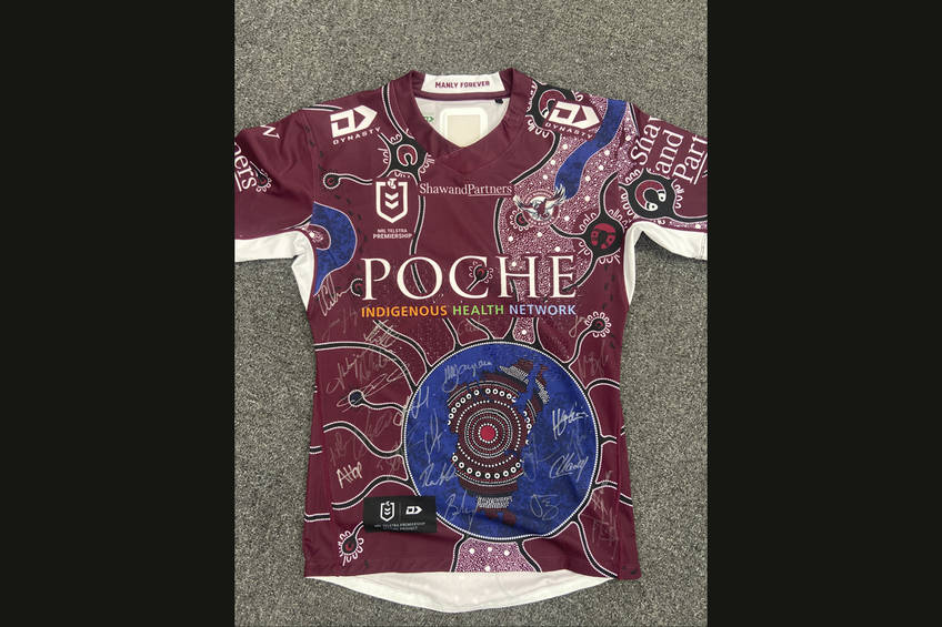 Personally signed Manly Warringah Sea Eagles 2020 Indigenous Jersey, signed by the 2020 Playing Squad0