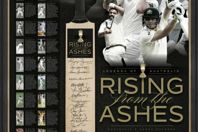 'RISING FROM THE ASHES' SIGNED BAT DISPLAY