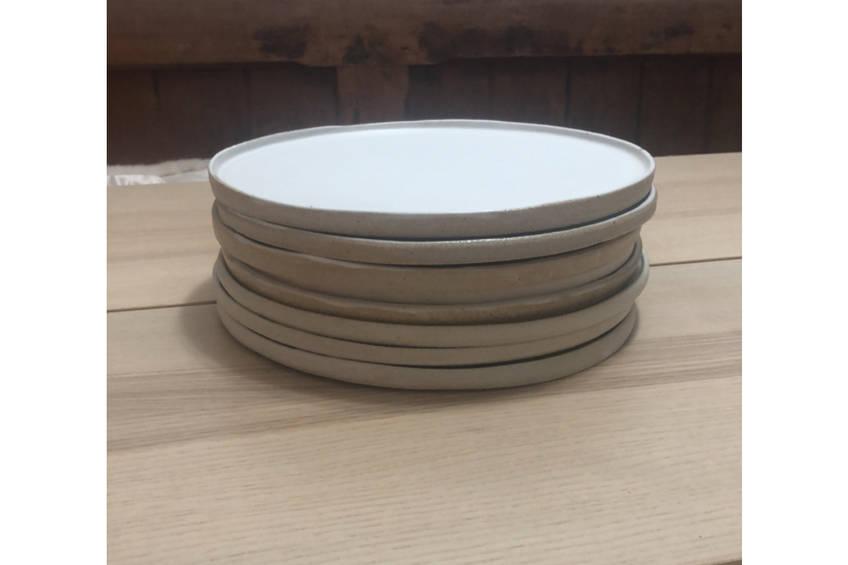 main1 hand made salad bowl and 8 plates0