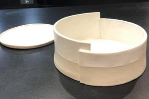 1 hand made salad bowl and 8 plates1